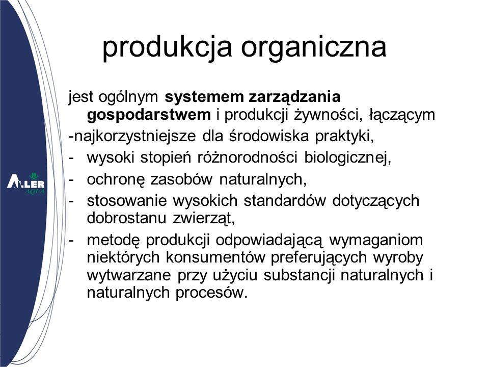 produkcja organiczna jest ogólnym systemem zarządzania gospodarstwem i produkcji żywności, łączącym.