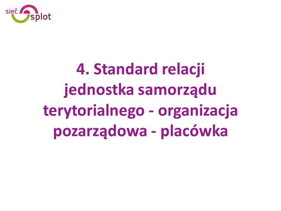 4. Standard relacji jednostka samorządu terytorialnego - organizacja pozarządowa - placówka