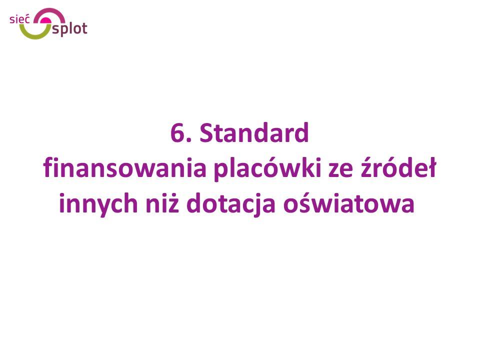 6. Standard finansowania placówki ze źródeł innych niż dotacja oświatowa