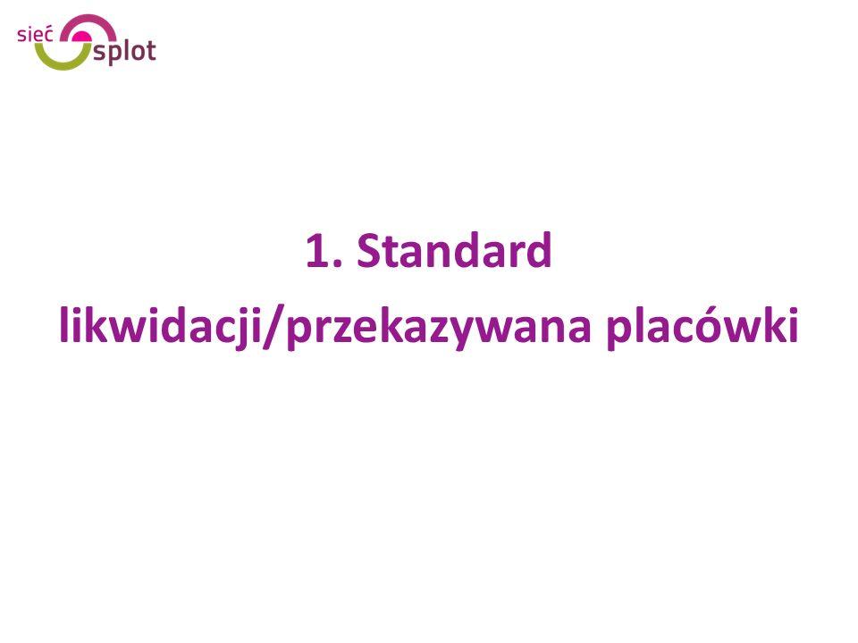 1. Standard likwidacji/przekazywana placówki