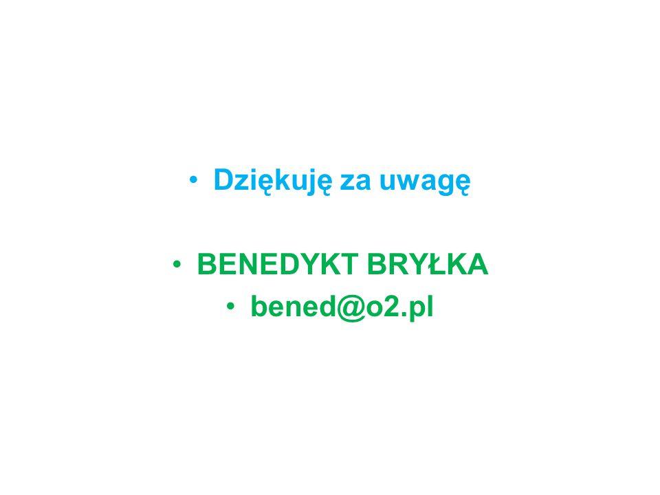Dziękuję za uwagę BENEDYKT BRYŁKA bened@o2.pl