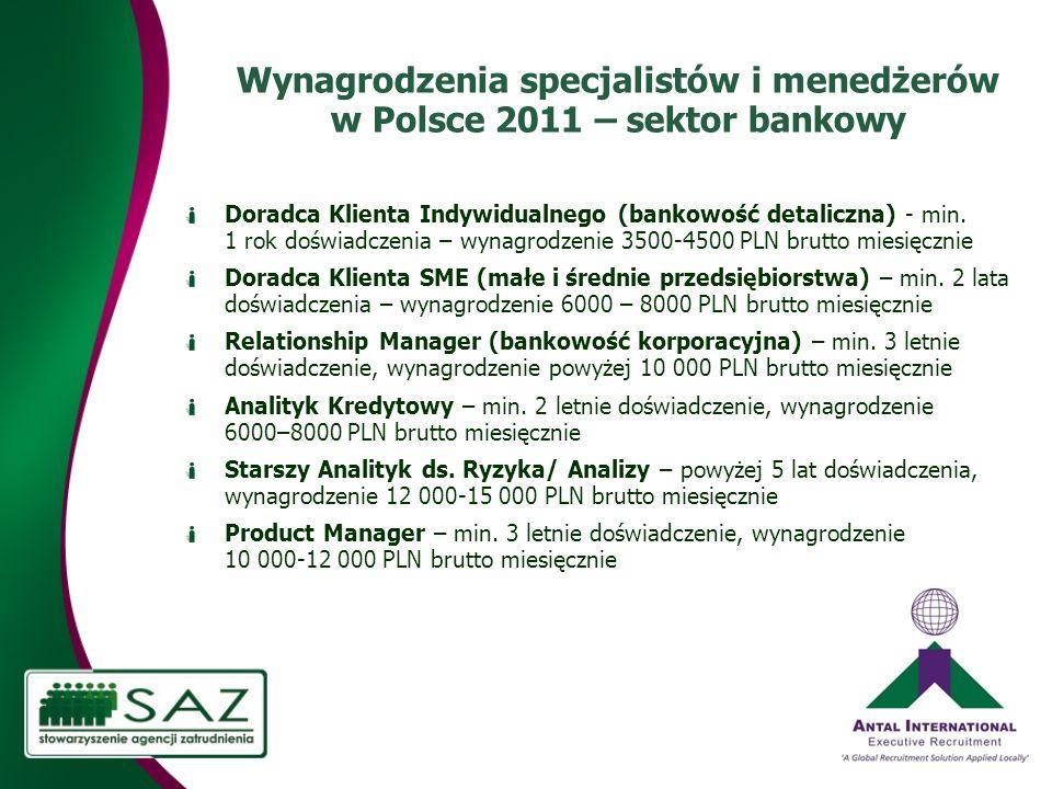 Wynagrodzenia specjalistów i menedżerów w Polsce 2011 – sektor bankowy