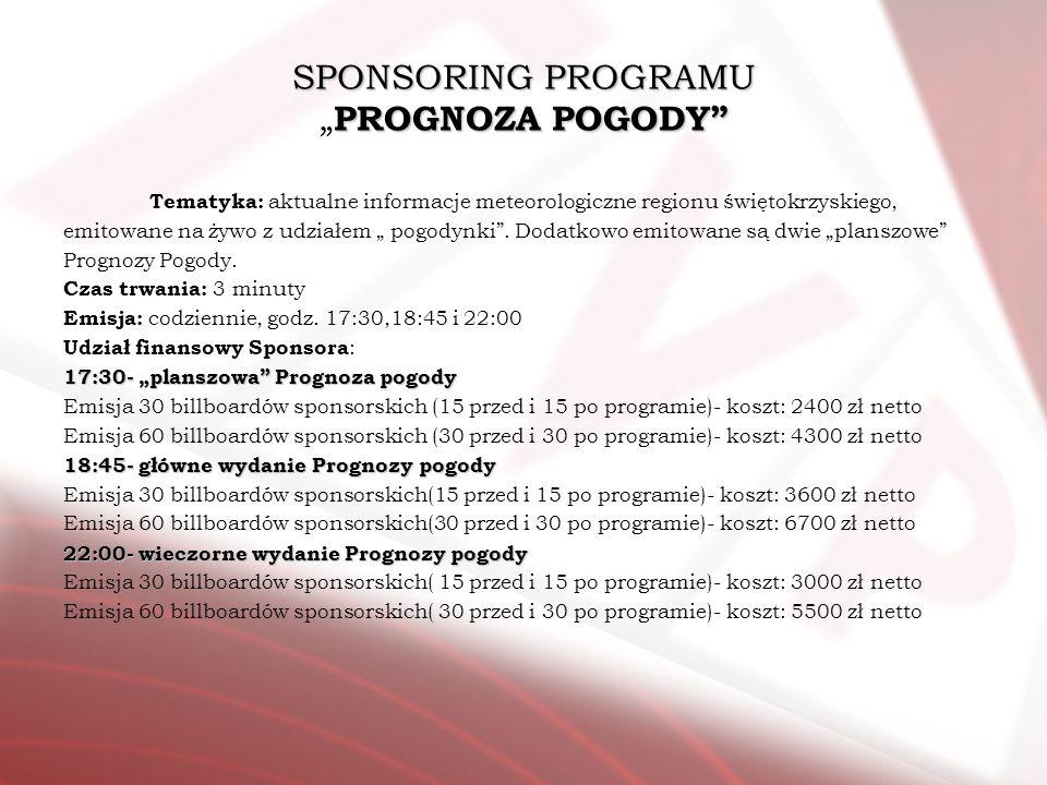 """SPONSORING PROGRAMU """"PROGNOZA POGODY"""
