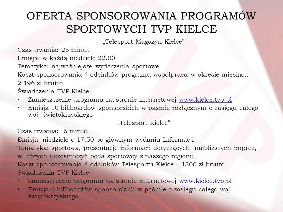 OFERTA SPONSOROWANIA PROGRAMÓW SPORTOWYCH TVP KIELCE