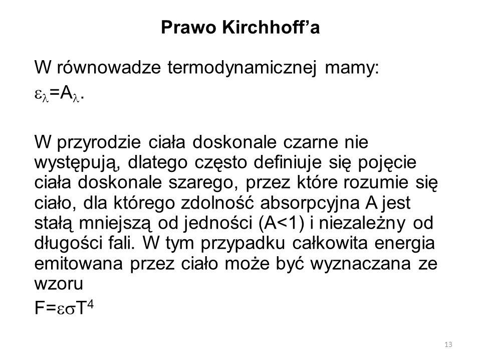 Prawo Kirchhoff'a W równowadze termodynamicznej mamy: =A.