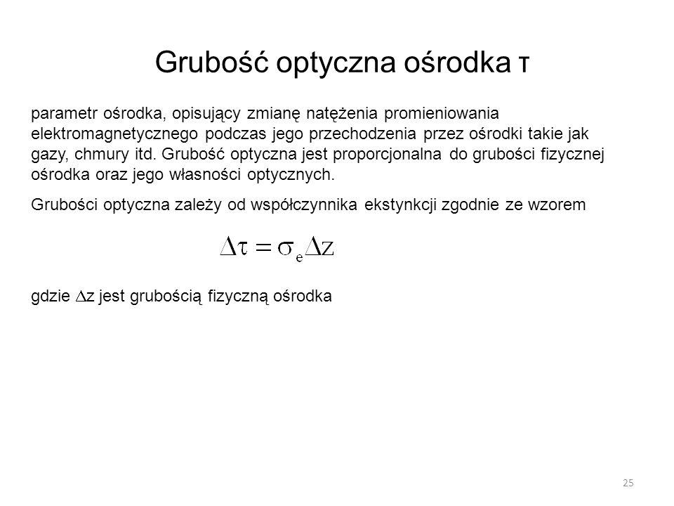 Grubość optyczna ośrodka τ