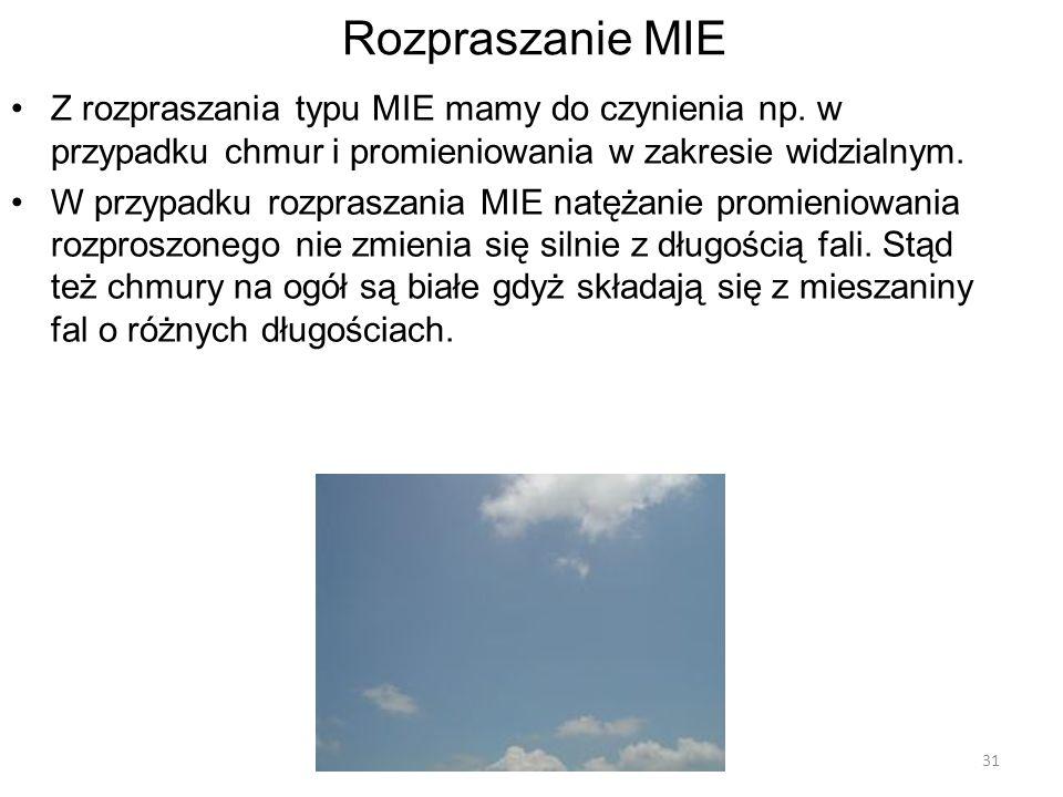 Rozpraszanie MIE Z rozpraszania typu MIE mamy do czynienia np. w przypadku chmur i promieniowania w zakresie widzialnym.