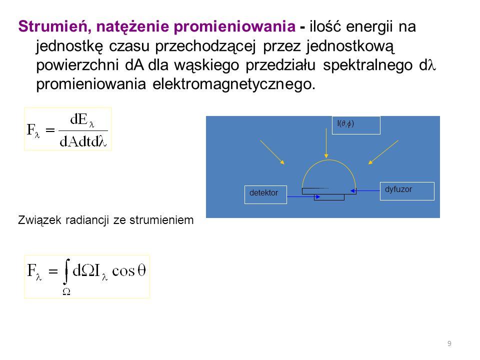 Strumień, natężenie promieniowania - ilość energii na jednostkę czasu przechodzącej przez jednostkową powierzchni dA dla wąskiego przedziału spektralnego d promieniowania elektromagnetycznego.