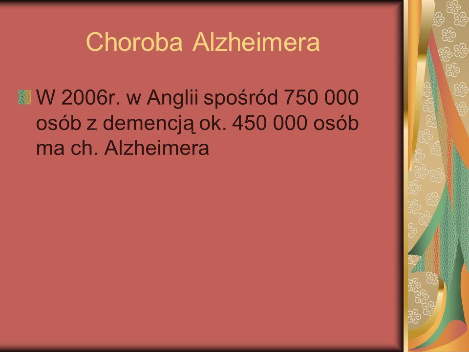 Choroba Alzheimera W 2006r. w Anglii spośród 750 000 osób z demencją ok.