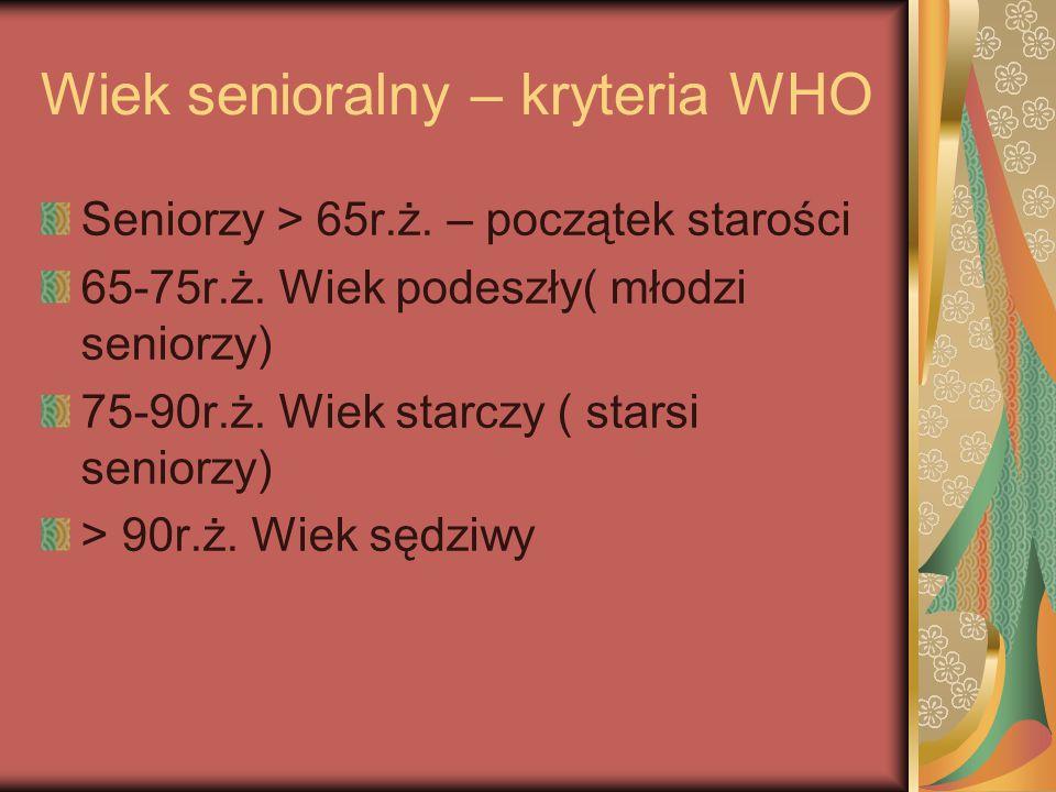 Wiek senioralny – kryteria WHO