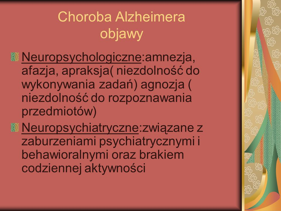 Choroba Alzheimera objawy