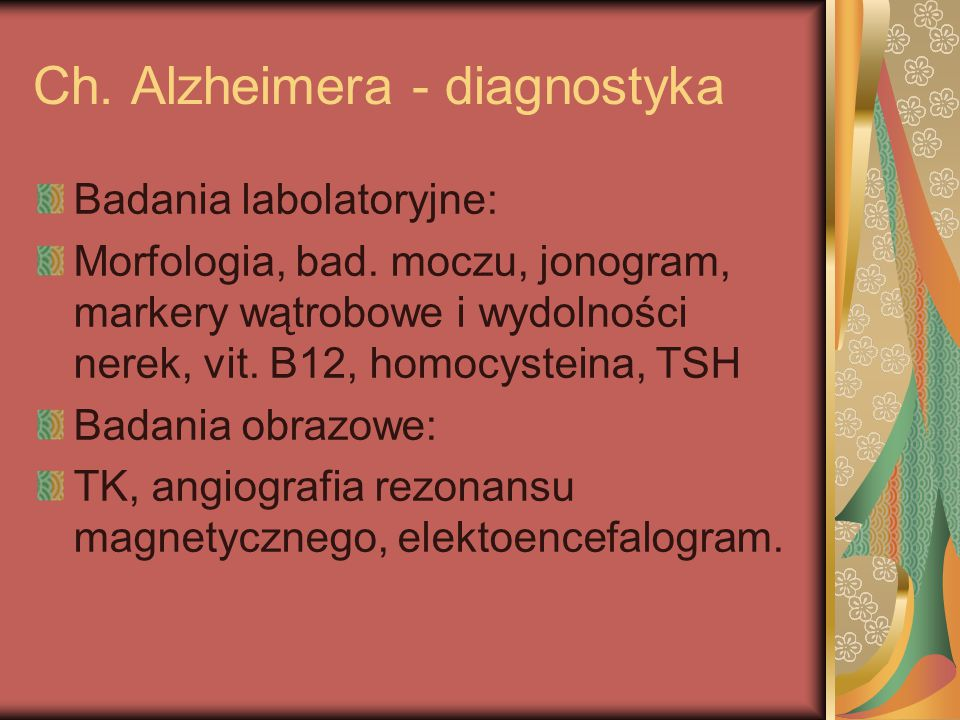 Ch. Alzheimera - diagnostyka