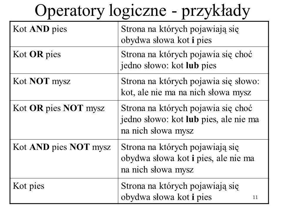 Operatory logiczne - przykłady