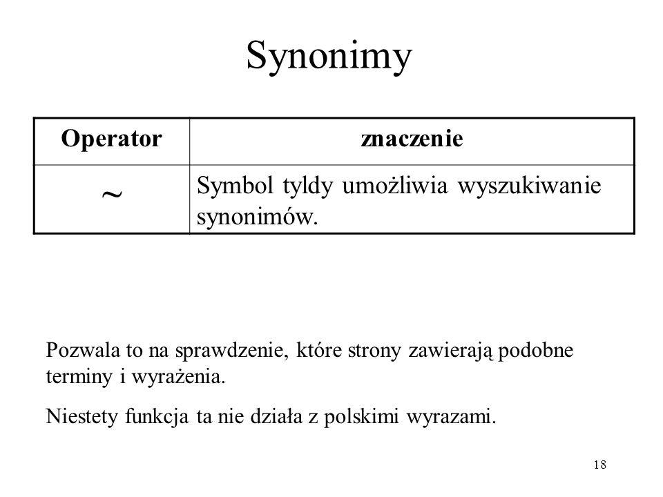Synonimy ~ Operator znaczenie