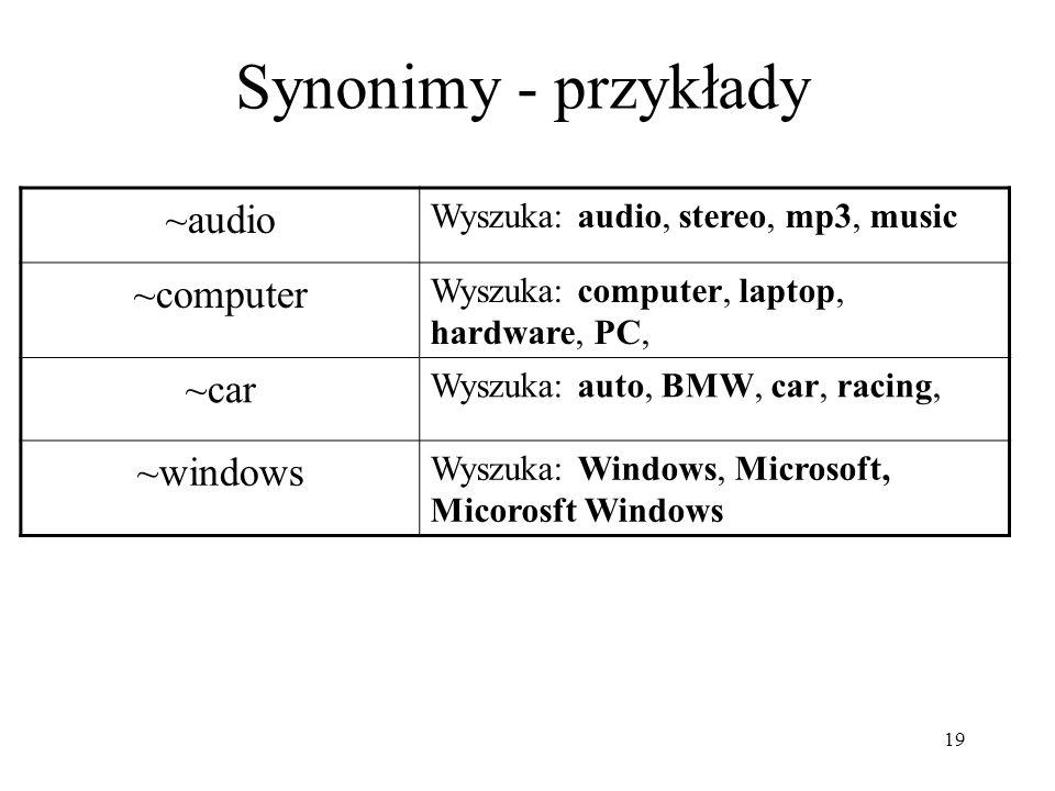 Synonimy - przykłady ~audio ~computer ~car ~windows
