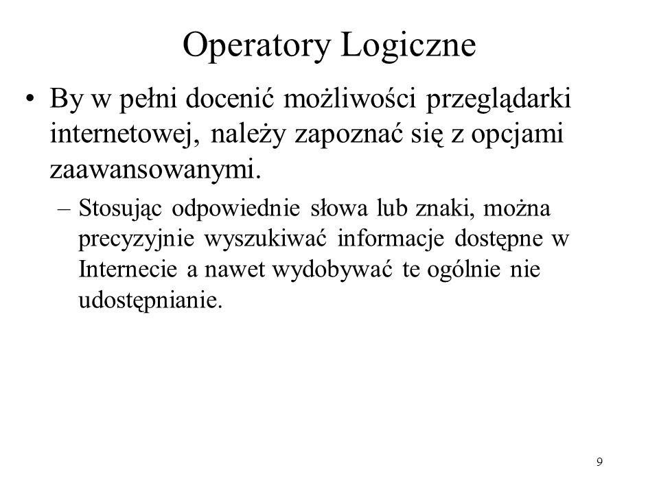 Operatory LogiczneBy w pełni docenić możliwości przeglądarki internetowej, należy zapoznać się z opcjami zaawansowanymi.