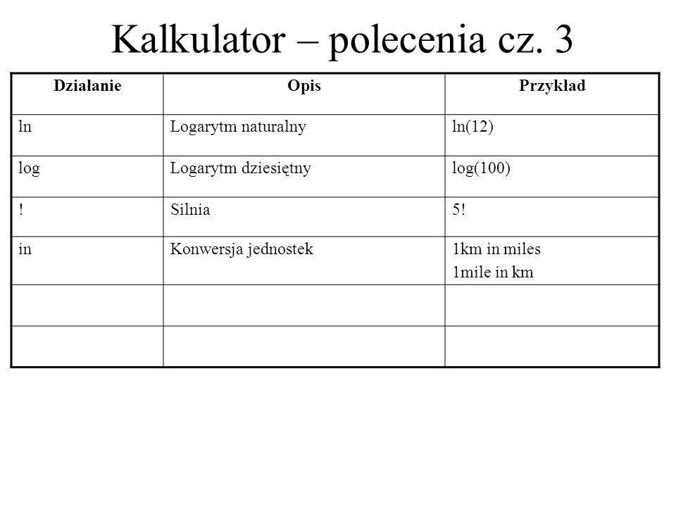 Kalkulator – polecenia cz. 3