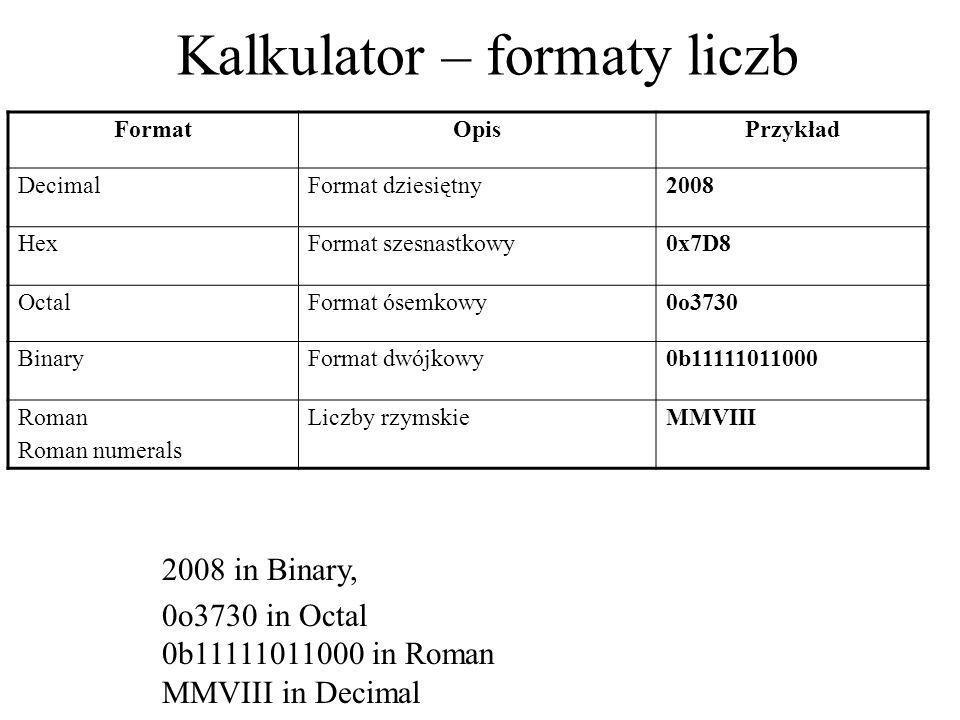 Kalkulator – formaty liczb