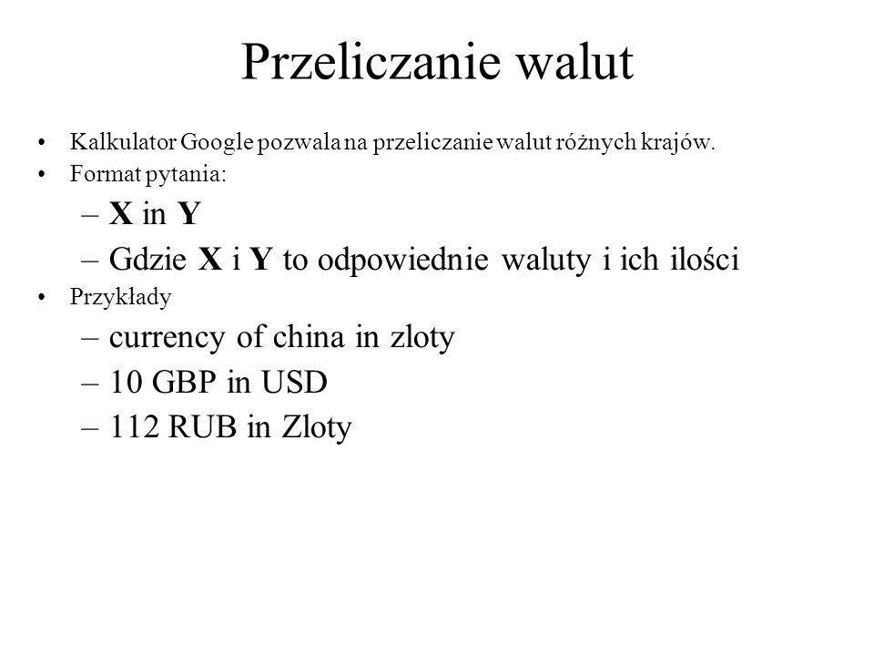Przeliczanie walut X in Y