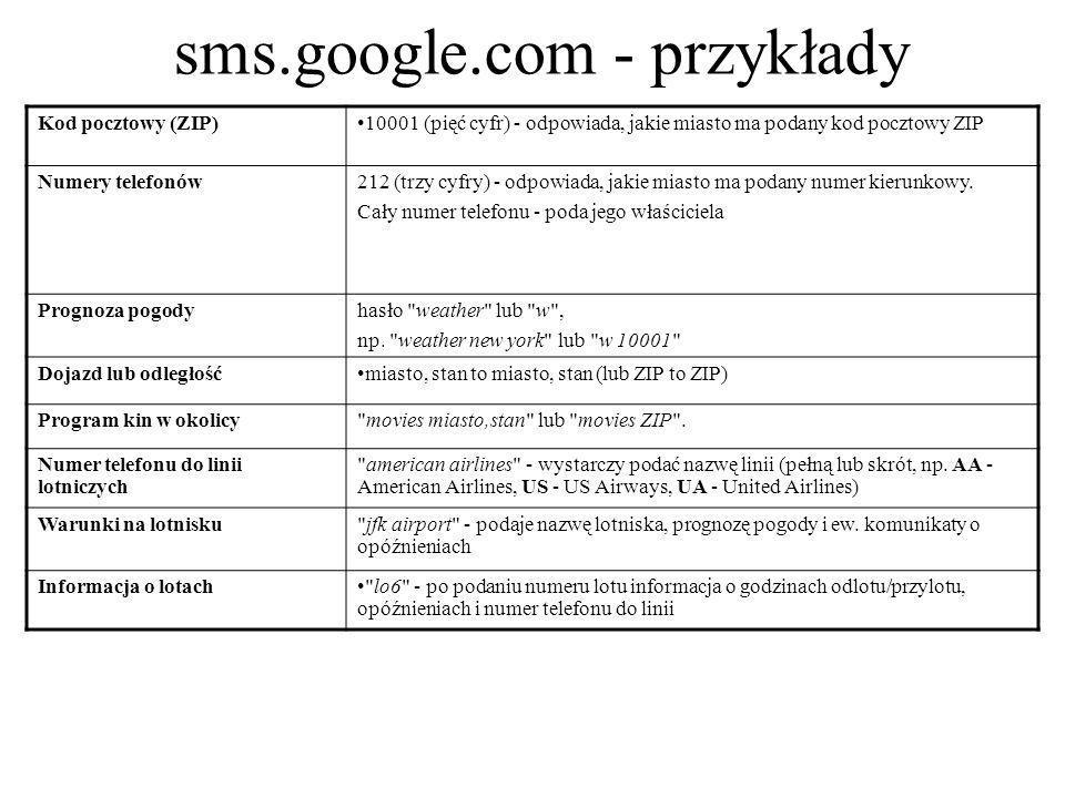 sms.google.com - przykłady