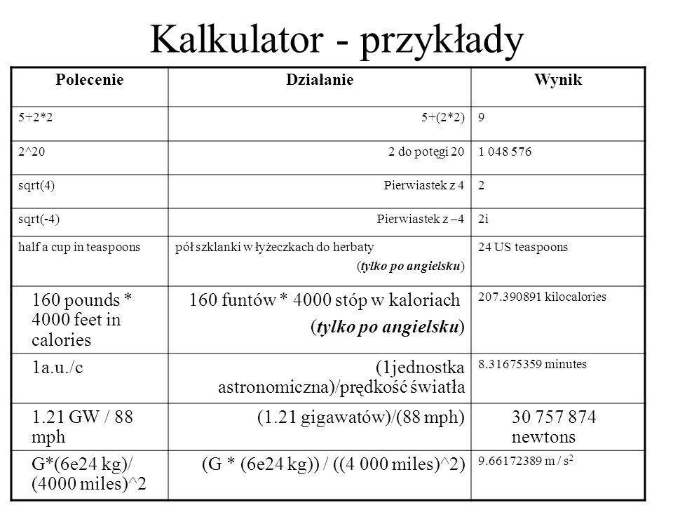 Kalkulator - przykłady