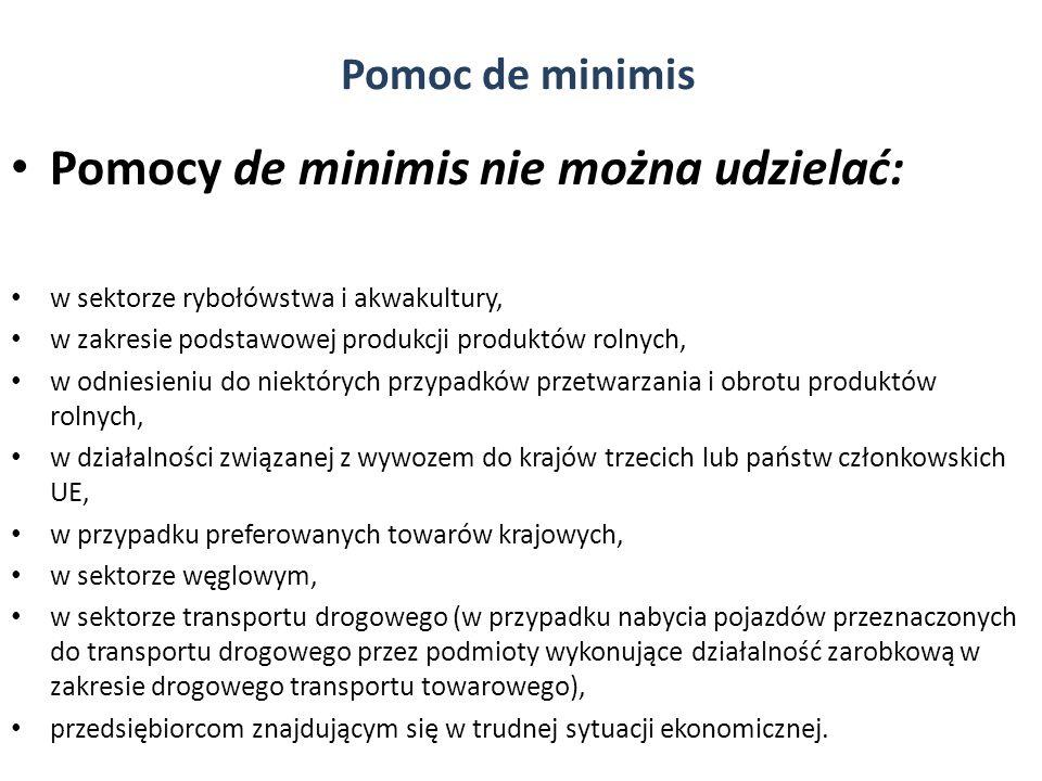 Pomocy de minimis nie można udzielać: