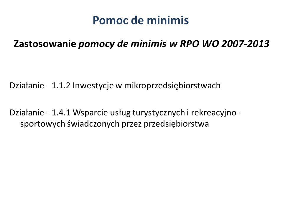 Zastosowanie pomocy de minimis w RPO WO 2007-2013