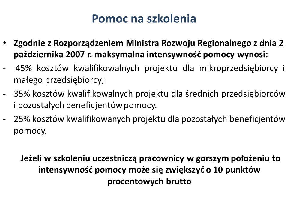 Pomoc na szkolenia Zgodnie z Rozporządzeniem Ministra Rozwoju Regionalnego z dnia 2 października 2007 r. maksymalna intensywność pomocy wynosi:
