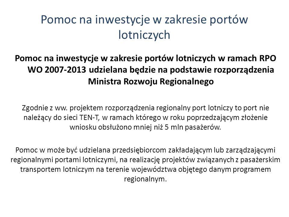 Pomoc na inwestycje w zakresie portów lotniczych