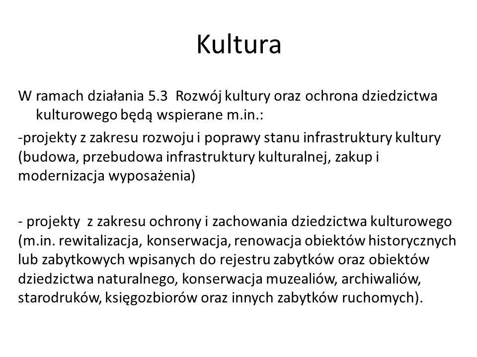 Kultura W ramach działania 5.3 Rozwój kultury oraz ochrona dziedzictwa kulturowego będą wspierane m.in.: