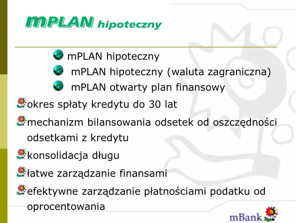 mPLAN hipoteczny mPLAN hipoteczny (waluta zagraniczna) mPLAN otwarty plan finansowy. okres spłaty kredytu do 30 lat.