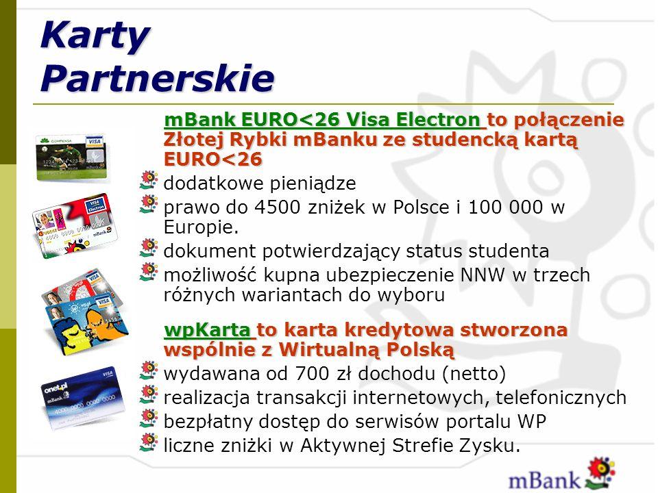 Karty Partnerskie mBank EURO<26 Visa Electron to połączenie Złotej Rybki mBanku ze studencką kartą EURO<26.