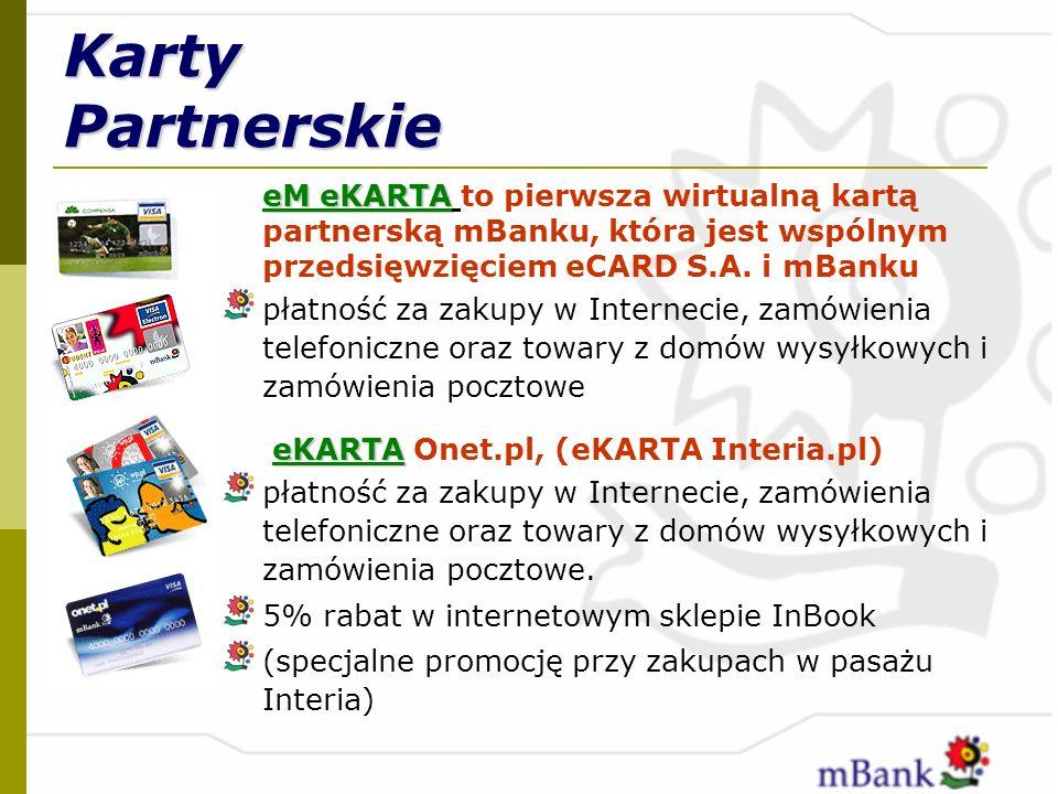 Karty Partnerskie eM eKARTA to pierwsza wirtualną kartą partnerską mBanku, która jest wspólnym przedsięwzięciem eCARD S.A. i mBanku.