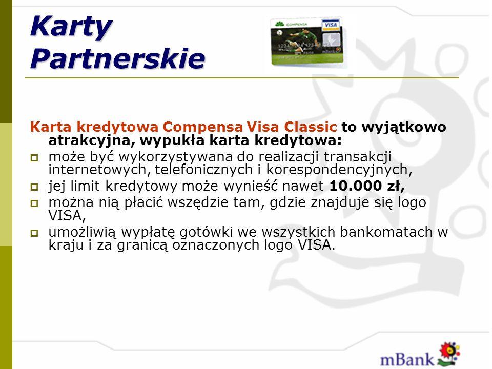 Karty Partnerskie Karta kredytowa Compensa Visa Classic to wyjątkowo atrakcyjna, wypukła karta kredytowa: