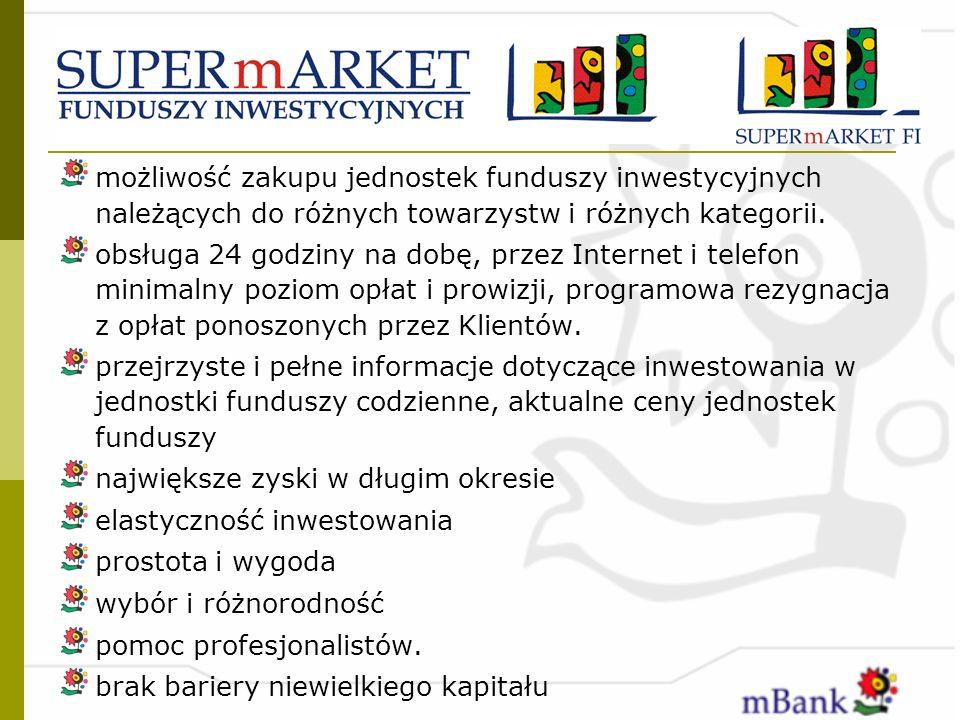możliwość zakupu jednostek funduszy inwestycyjnych należących do różnych towarzystw i różnych kategorii.
