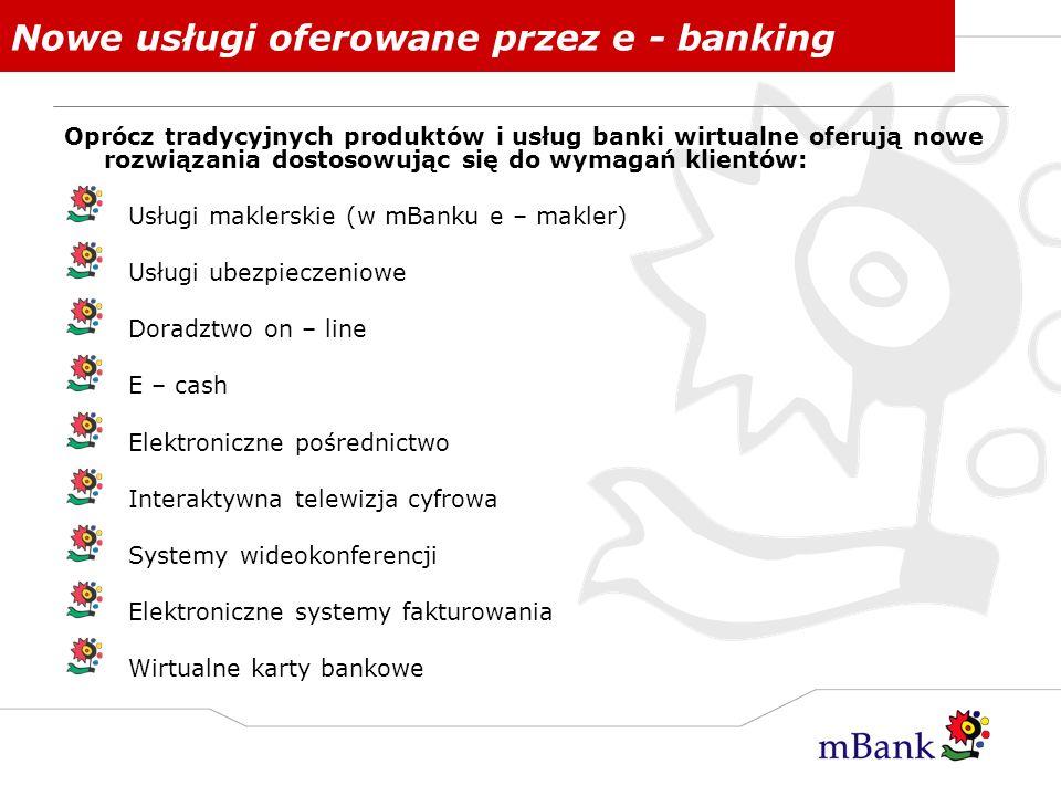Nowe usługi oferowane przez e - banking