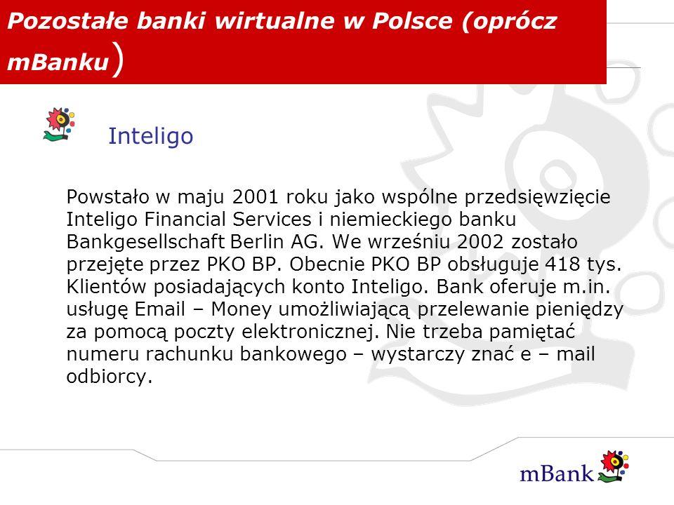 Pozostałe banki wirtualne w Polsce (oprócz mBanku)