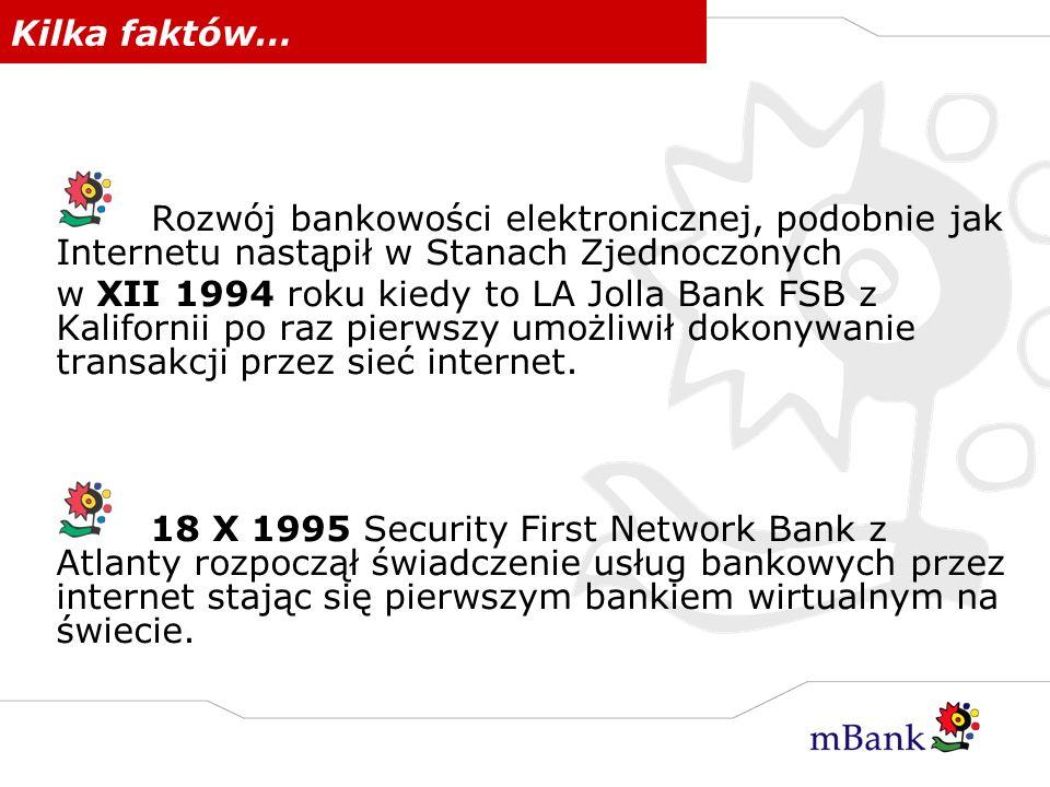 Kilka faktów… Rozwój bankowości elektronicznej, podobnie jak Internetu nastąpił w Stanach Zjednoczonych.