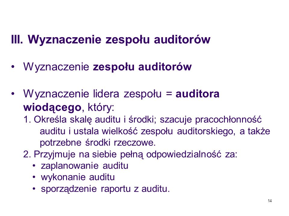 III. Wyznaczenie zespołu auditorów