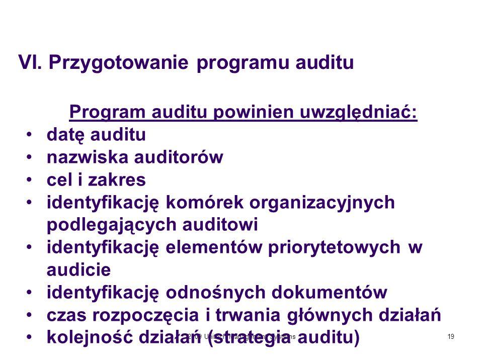 Program auditu powinien uwzględniać: