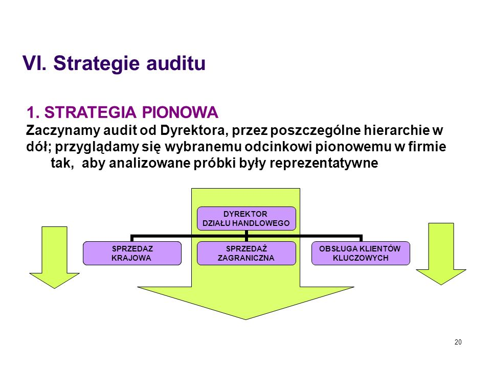 VI. Strategie auditu 1. STRATEGIA PIONOWA