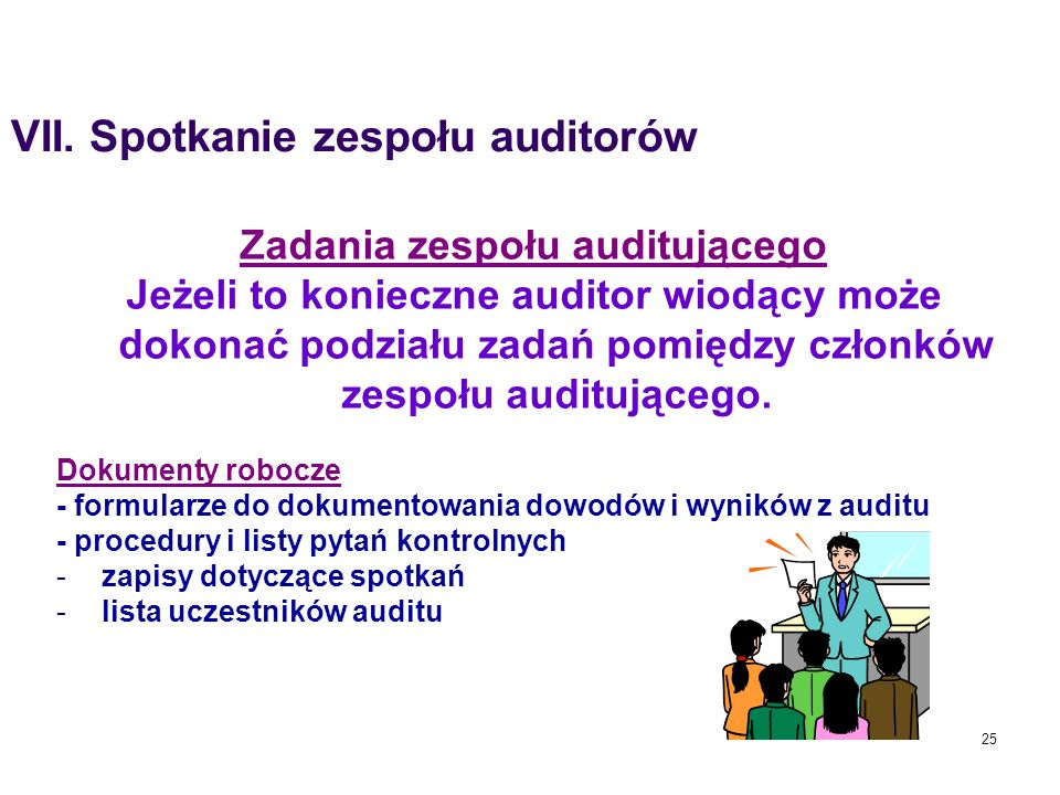 Zadania zespołu auditującego