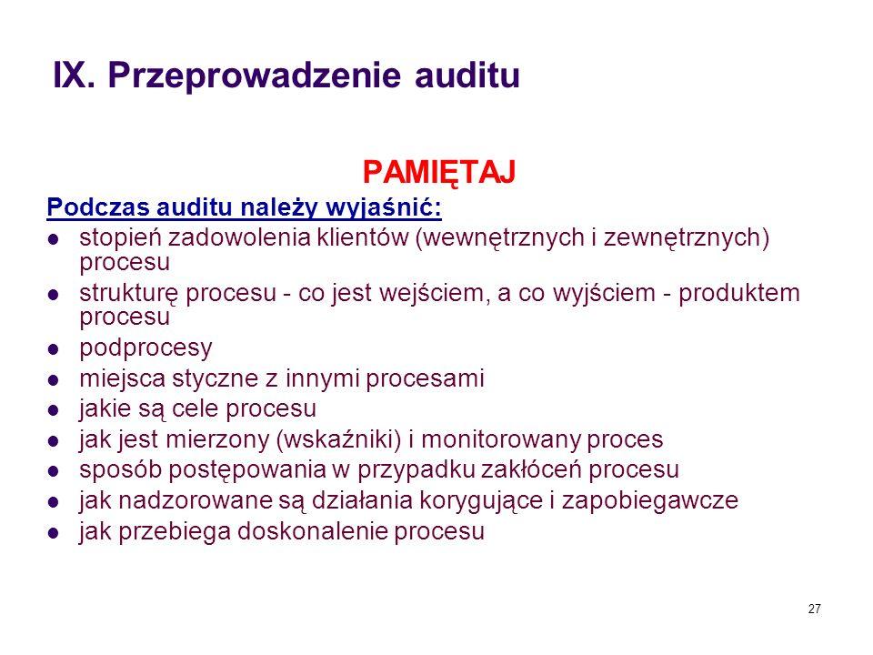 IX. Przeprowadzenie auditu