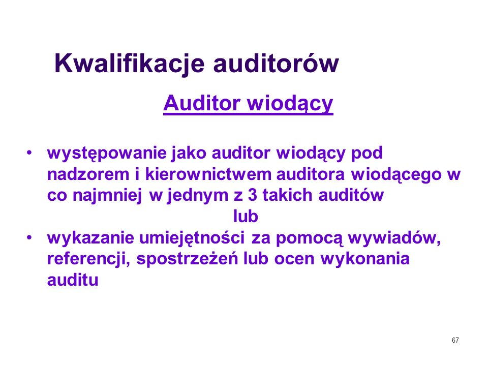 Kwalifikacje auditorów