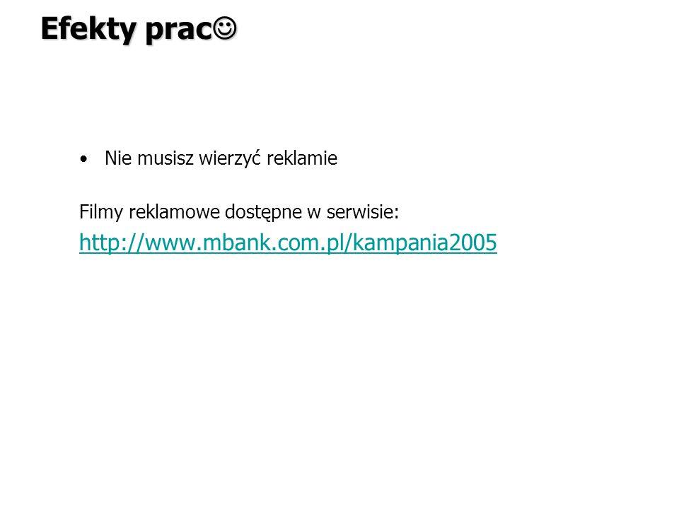 Efekty prac http://www.mbank.com.pl/kampania2005
