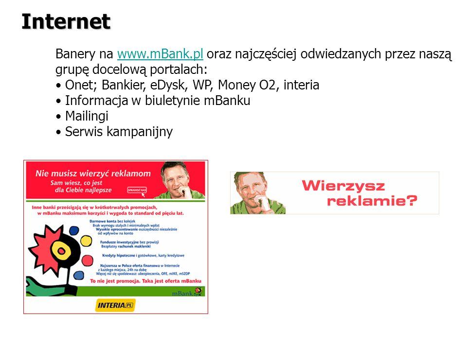 Internet Banery na www.mBank.pl oraz najczęściej odwiedzanych przez naszą grupę docelową portalach: