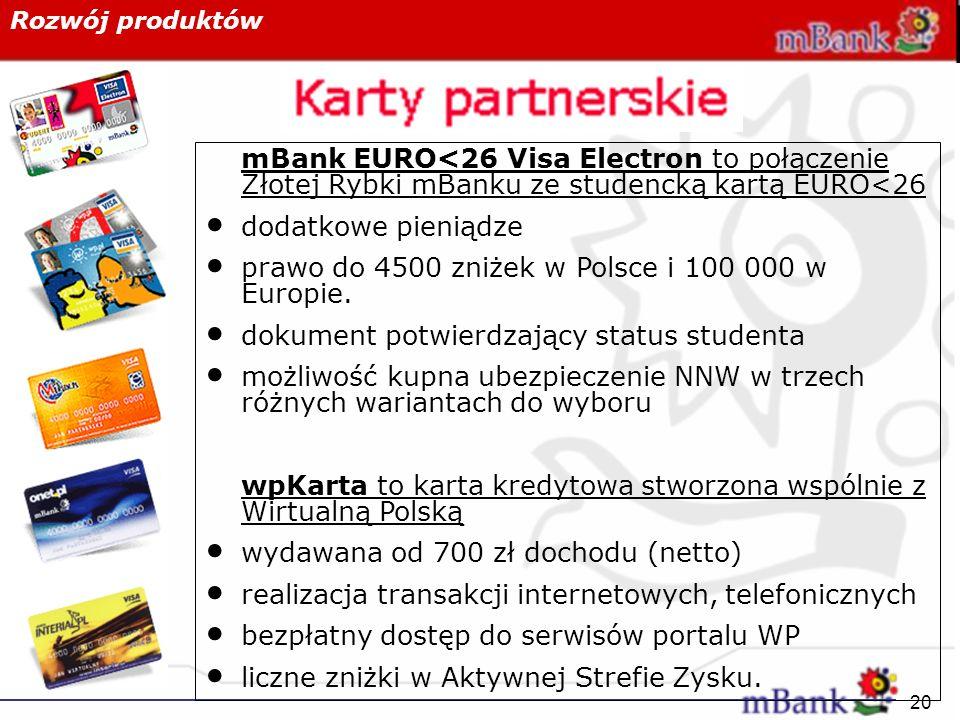 Rozwój produktów mBank EURO<26 Visa Electron to połączenie Złotej Rybki mBanku ze studencką kartą EURO<26.