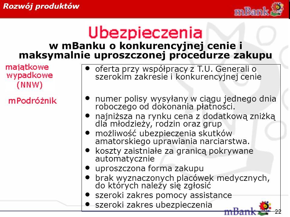 Rozwój produktów w mBanku o konkurencyjnej cenie i maksymalnie uproszczonej procedurze zakupu.