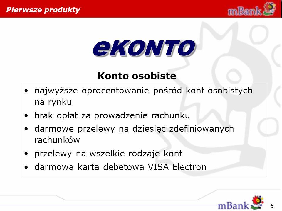 Pierwsze produkty eKONTO. Konto osobiste. najwyższe oprocentowanie pośród kont osobistych na rynku.