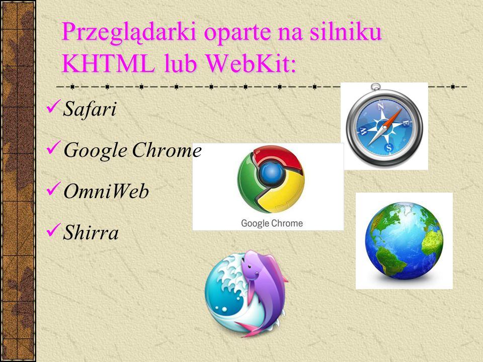 Przeglądarki oparte na silniku KHTML lub WebKit: